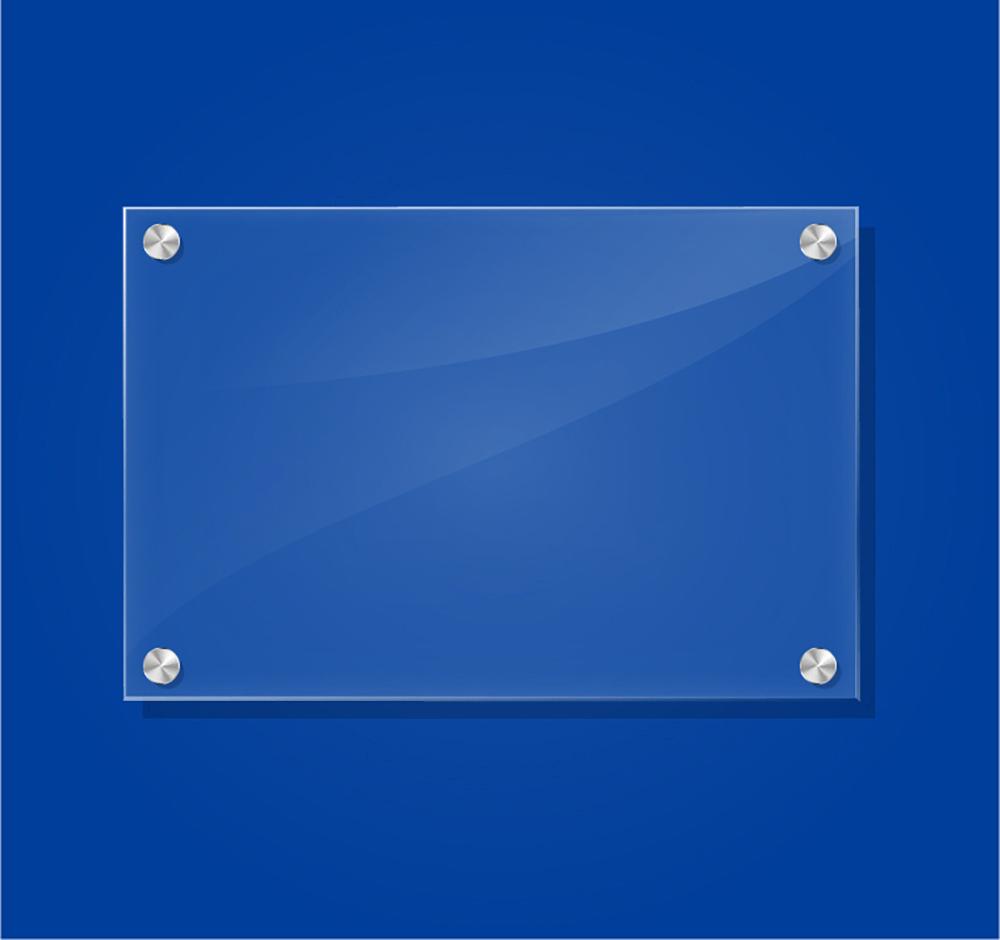 blue acrylic sign