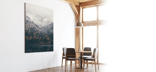 photo printed on foam board mounted on a wall